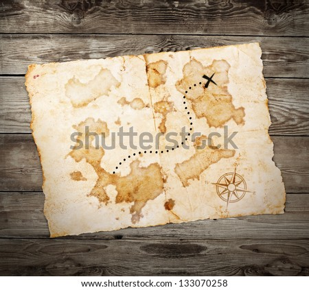 old treasure map  on wooden