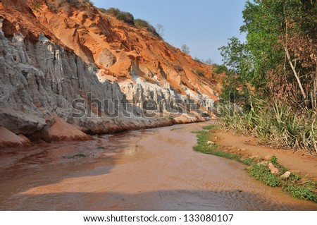 red river between rocks and
