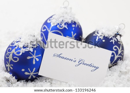 christmas ornaments with card