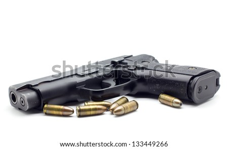 pistol with ammo  white
