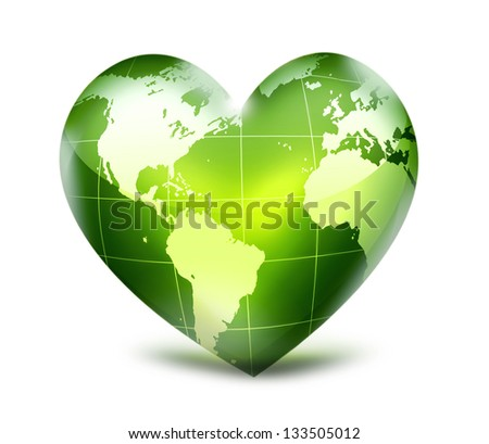 green heart with world map