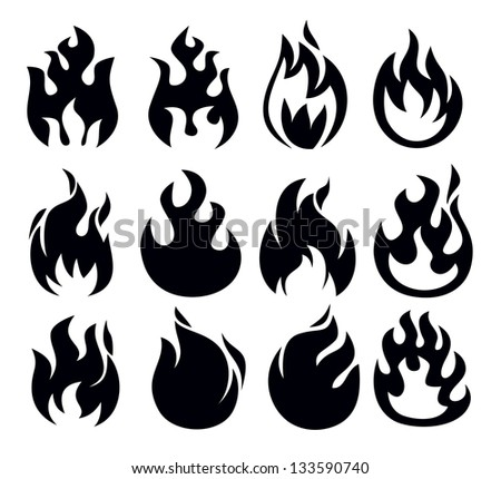 vector black fire icon set on
