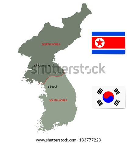 north and south korea vector