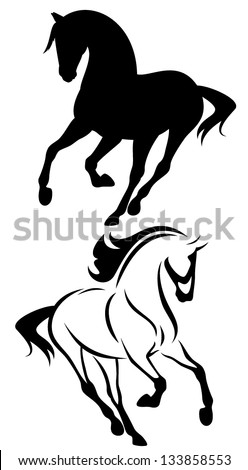 beautiful running horse vector