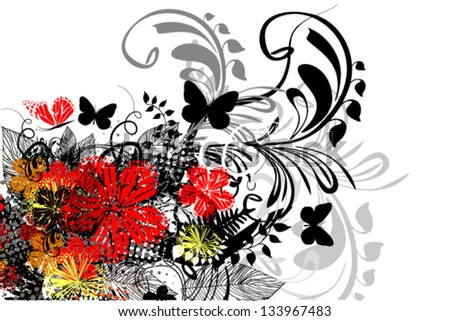red and black abstract floral