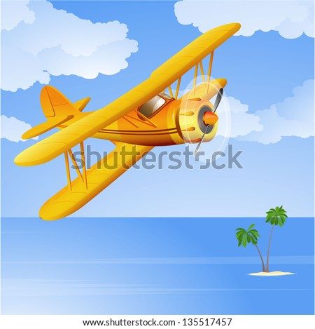 yellow biplane in the tropical