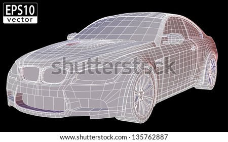car wireframe   eps10 vector