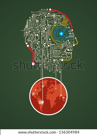 circuit abstract human head