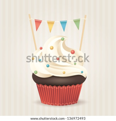 cute vector party cupcake on