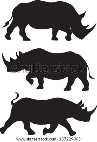 rhino silhouette vector set of