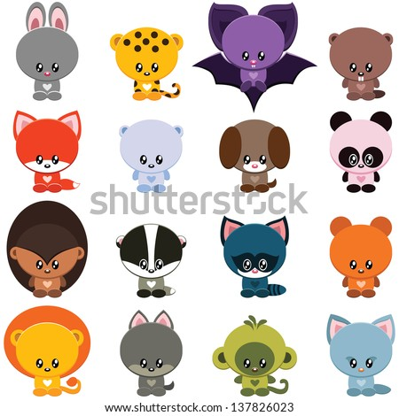 vector set of little cute