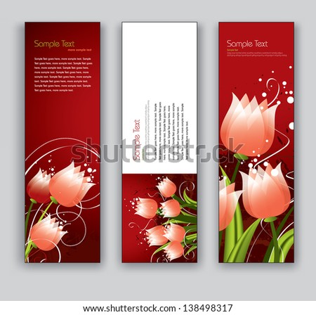 vector banners with tulips set