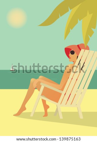 woman on the beach vector