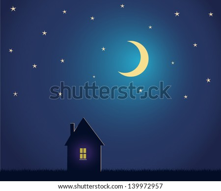 house and night sky with stars