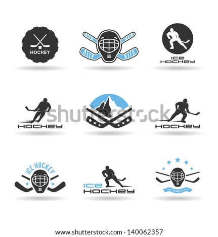 set of ice hockey icons