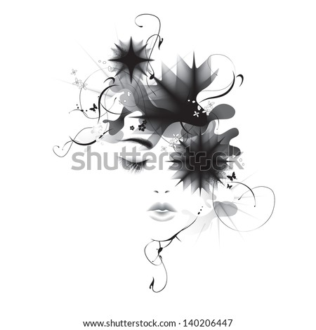 vector girl abstract face eps10