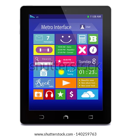 black glossy tablet pc with
