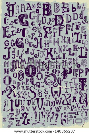 whimsical hand drawn alphabet
