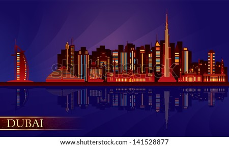 dubai night city skyline