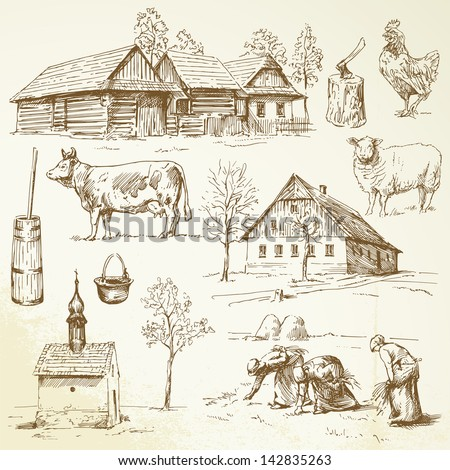 farm  rural houses   drawing