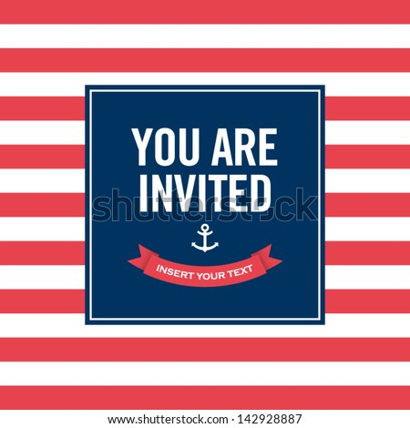 Invitation card. Sailor theme. Text and color editable. Shutterstock
