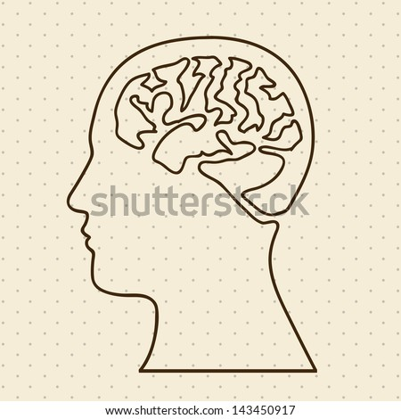 brain silhouette over dotted