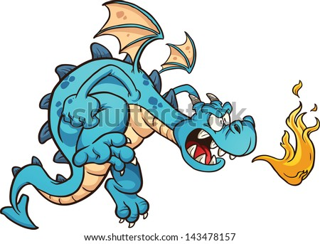 fire breathing cartoon blue