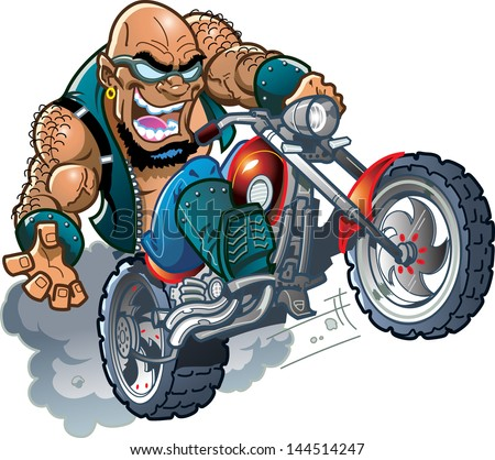 wild crazy bald smiling biker