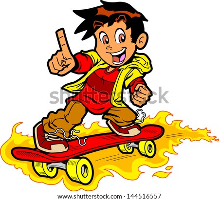cool skateboarding boy on fire