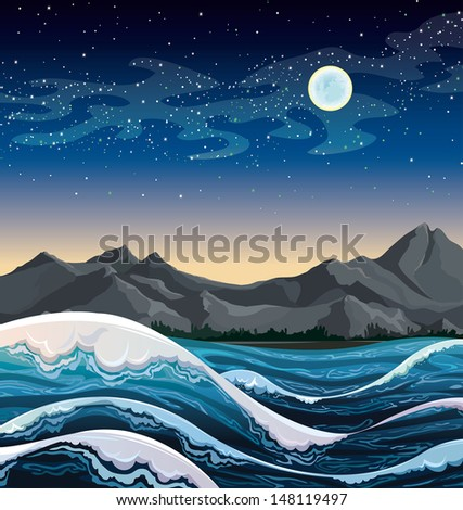 night sea with waves and