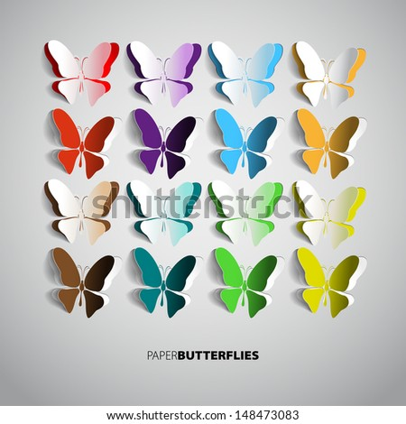 set of paper butterflies   can
