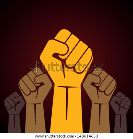clenched fist held in protest