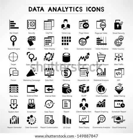 web analytic icons set  data