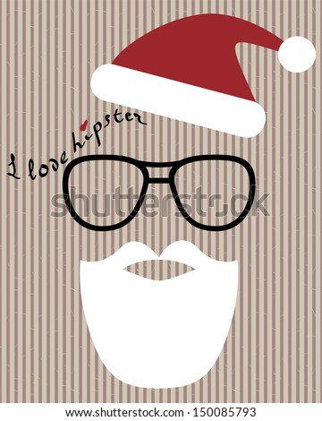 abstract vector hipster santa