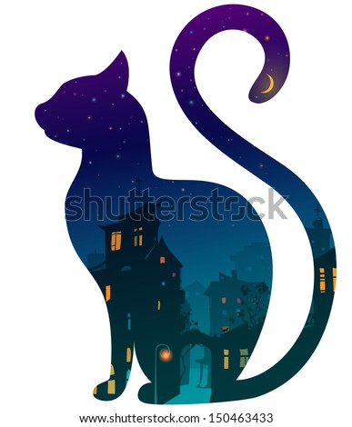 silhouette of a cat with night