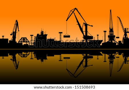 working cranes in sea port for