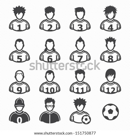 soccer player icons with white