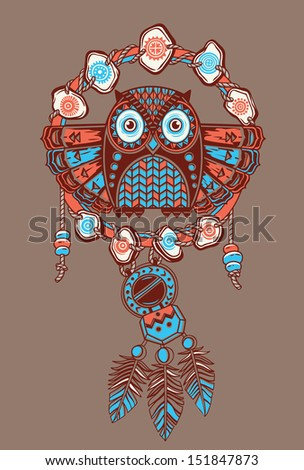 dream catcher with owl vector