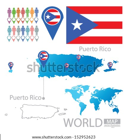 puerto rico flag world map