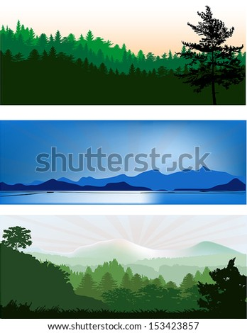set of three landscapes with