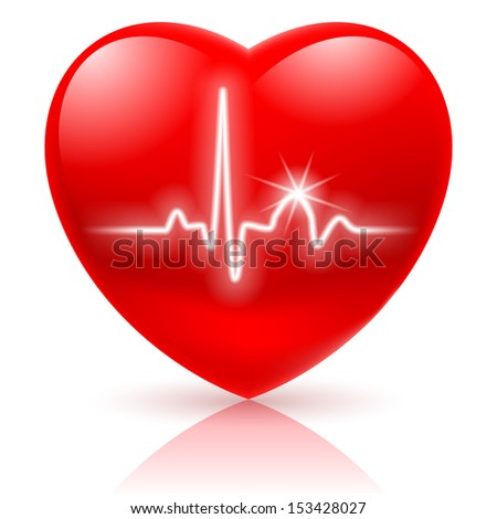 shiny red heart with cardiogram