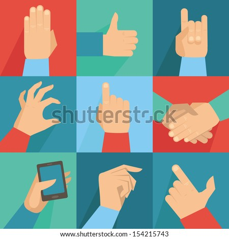 vector set of hands and