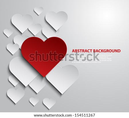 abstract paper hearts over grey