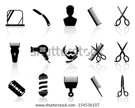 barber tools and haircut icons