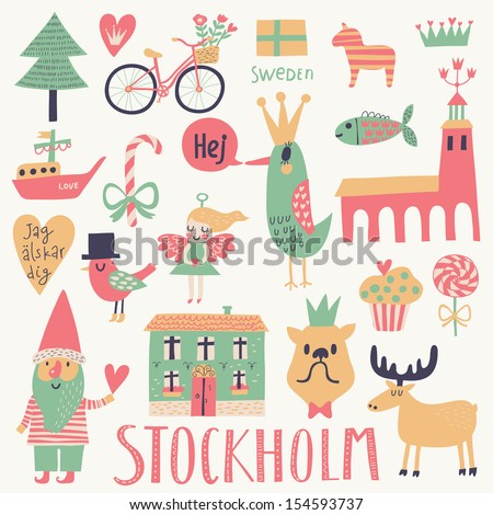 stockholm sweden set in vector