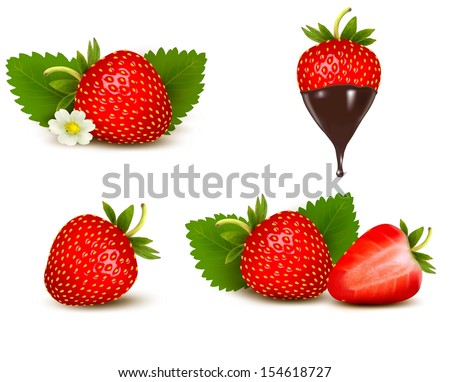 set of ripe sweet strawberry