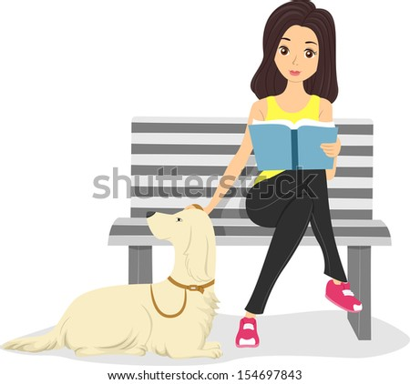 illustration of a girl stroking