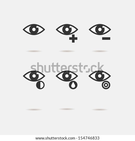 eye sight icons set