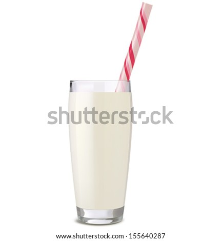 glass of milk with tube