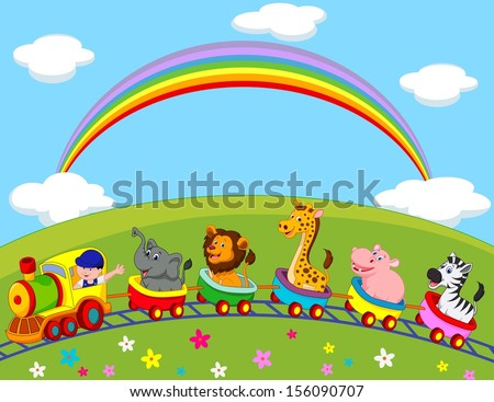 animal train cartoon